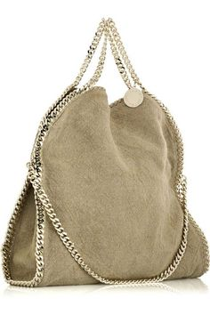 Canvas Gold Bag Comes from Stella McCartney on January 08, 2011 @ 13:00: Beige canvas tote bag with gold chain from side view