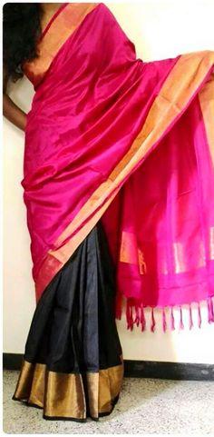 Indian Traditional Handloom Sarees: Uppada Half and half Silk Sarees
