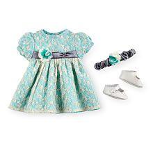 You  Me Baby So Sweet Premium Doll 3 Piece Blue/White Dress Set