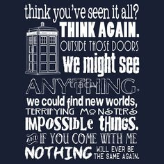 Doctor Who Inspired - Best Doctor Who Quotes - Typography Design - Never Be the Same Again Quote by traciv