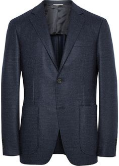 $1,650, Navy Wool Blazer: Canali Navy Kei Unstructured Basketweave Wool Blazer. Sold by MR PORTER. Click for more info: https://lookastic.com/men/shop_items/297793/redirect