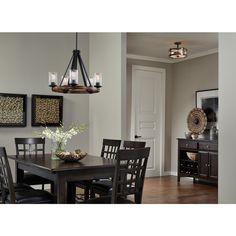 shop kichler lighting barrington 5 light distressed black and wood chandelier at lowescom - Kichler Dining Room Lighting
