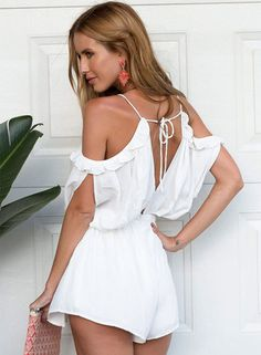 Shop White Off The Shoulder Lace Up Playsuit online. Sheinside offers White Off The Shoulder Lace Up Playsuit & more to fit your fashionable needs. Off Shoulder Romper, White Off Shoulder, Cold Shoulder, Casual Outfits, Cute Outfits, Fashion Outfits, Women's Fashion, Paris Fashion, Fashion News