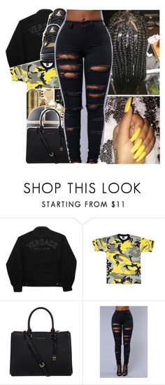 """Untitled #837"" by issaxmonea ❤ liked on Polyvore featuring Versace Jeans Couture, Rothco, Michael Kors and Retrò"
