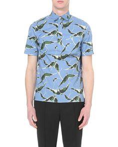 9f6ffff24 Valentino | Blue Albatross Print Short-sleeved Shirt for Men | Lyst  Valentino Black,
