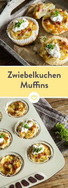 Schmeckt wie das Original, passt aber kompakt auf die Hand: Die Zwiebelkuchen-Mu… Tastes like the original, but fits compactly on the hand: The onion cake muffins have just the right size to inspire every party. Party Finger Foods, Snacks Für Party, Tapas, Onion Tart, Good Food, Yummy Food, Brunch Recipes, Snacks Recipes, Pizza Recipes