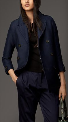 Cotton Silk Structured Pea Coat | Burberry