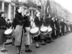 The British Union of Fascists Women's Drum Corp, led by Heather Bond, supporting a major Brighton rally, 1939.