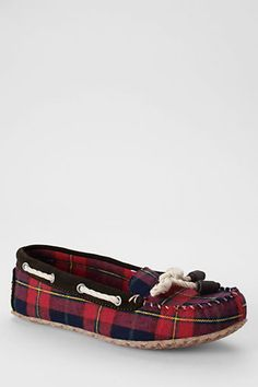 Women's Plaid Moc Slippers - Lands' End