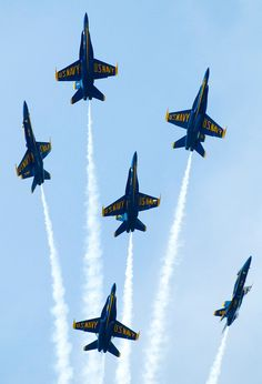 The Navy's Blue Angel's fly over Annapolis, MD during the United States Naval Academy's Commissioning Week (graduation).
