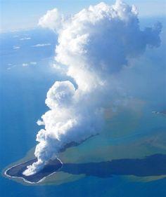 The undersea volcano on the small, uninhabited islet of Hunga Ha'apai 39 mi NW of the Tongan capital Nuku'alofa