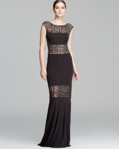 David Meister Gown - Cap Sleeve Sequin Illusion Inset Jersey  Bloomingdale's