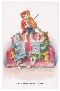 Ohler - Dressed Cat Plays Violin as Two Lady Cats Howl Along