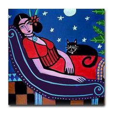 50% Off Mexican Folk Art Ceramic Tile Frida by HeatherGallerArt