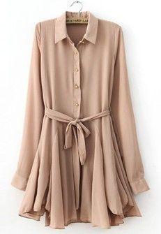 Pink Lapel Long Sleeve Drawstring Pleated Dress