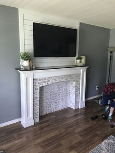 9 Natural Tips: Farmhouse Fireplace Mantel tv over fireplace cover.Cozy Fireplace Nook stone fireplace with tv.Fireplace Built Ins Dream Homes. Faux Fireplace Mantels, Farmhouse Fireplace, Fireplace Surrounds, Fireplace Design, Fireplace Ideas, Fake Mantle, Fireplace Remodel, Mantles, Fireplace Candles