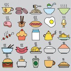 Conjunto de ícones de alimentos coloridos. Ilustração vetorial