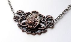 Steampunk Necklace Steampunk Watch Necklace Copper Victorian Rose Unique Steam Punk Pendant Steampunk Jewelry by Victorian Curiosities.. $28.00, via Etsy.
