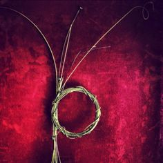 Old guitar strings against a red wall © Ian Goldsmith