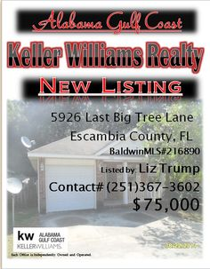5926 Last Bigtree Lane Escambia County FL...MLS#216890...$75,000...3 Bed 2 Bath... NICE PATIO HOME WITH TILE AHD HARDWOOD FLOORING THROUGHOUT, SPACIOUS KITCHEN, BACKYARD COMPLETELY FENCED WITH PRIVACY FENCING, IN POPULAR BIG OAK. NOT SUBJECT TO RIGHT OF REDEMPTION-FLORIDA PROPERTY...Please Contact: Liz Trump @ 251-367-3602