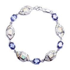 """Tanzanite, Russian Cz, & White Opal .925 Sterling Silver Bracelet 7.25"""""""