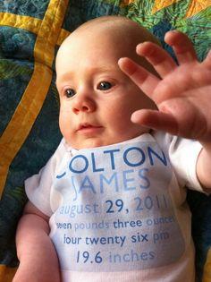 Birthtees MODERN BOY birth announcement onsies by culpepergeneral, $28.00