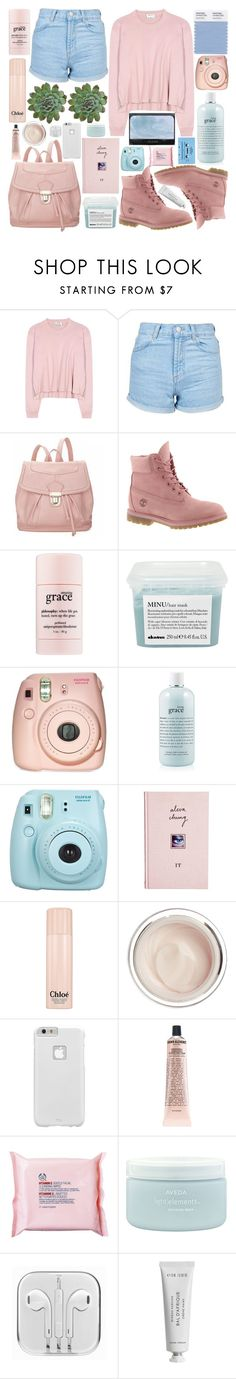 """cotton candy"" by inkcoherent ❤ liked on Polyvore featuring Acne Studios, Topshop, 19th Street, Timberland, philosophy, Davines, Fujifilm, ASOS, Chloé and CASSETTE"