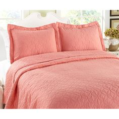Laura Ashley 3-piece Coral Cotton Quilt Set - Overstock™ Shopping - Great Deals on Laura Ashley Quilts