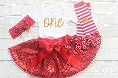 Baby Girl Christmas Outfit 1st Birthday Christmas by NylaMarieKids