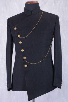 Wedding Suits Black Jute Jodhpuri Suit With Bandhgala - Nigerian Men Fashion, Indian Men Fashion, Mens Fashion Suits, Mens Suits, Wedding Dresses Men Indian, Wedding Dress Men, Wedding Suits, African Attire For Men, African Wear