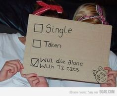 Single vs Taken vs Will die alone with 72 cats