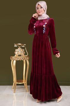 ** SONBAHAR / KIŞ ** Nakış Detay Büzgülü Kadife Elbise Bordo Ürün Kodu: BNM00250 --> 119.90 TL
