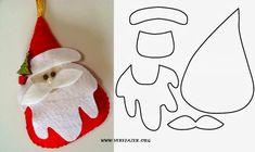50 Christmas Ornament Molds With Felt - How To Felt Christmas Stockings, Felt Christmas Decorations, Christmas Ornament Crafts, Felt Ornaments, Christmas Colors, Christmas Themes, Christmas Tree Template, Christmas Cards To Make, Christmas Diy