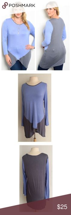 """(Plus) Blue/ Gray top Blue/ gray top  Length- 34""""  Materials- 95% rayon/ 5% spandex. Colorblock top with tons of stretch! Semi lightweight and very breathable. This top can easily be dressed up or dressed down.                                    Availability- XL•2x•3x • 1•1•2 ⭐️This is a retail item. It is brand new either with manufacturers tags, boutique tags, or in original packaging. Price is firm unless bundled. No trades Tops Tees - Long Sleeve"""