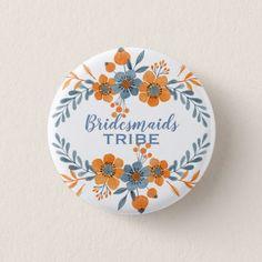 BridesMaids Tribe Orange & Blue Flower Wreath Button