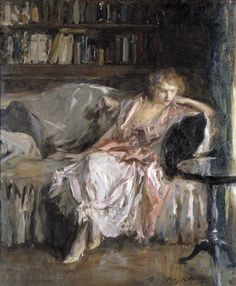 Irving Ramsey Wiles (American, 1861-1948)Her Leisure Hour, c.1925