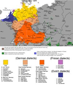 Distribution of the native speakers of major continental West Germanic dialects today (dialects of the following standard languages: Dutch, German and Frisian). The colors in this map do not reflect the actual relationship between the languages or dialects.