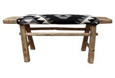 Antique Shandong Bench w/ Ralph Lauren