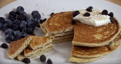Healthy Low-Carb Pancakes for breakfast! Recipe by miraclerecipes.com