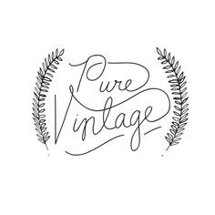 Logo for Pure Vintage, a wedding and event rental company providing antique and vintage dishes, furniture and decor around Lafayette, Louisiana.