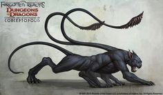 Displacer Beast (Monster) concept art for The Forgotten Realms (Dungeons & Dragons). Monster Concept Art, Fantasy Monster, Monster Art, Concept Art World, Creature Concept Art, Creature Design, Mythical Creatures Art, Mythological Creatures, Magical Creatures