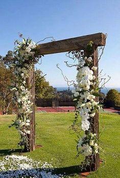 Rustic wedding arbor