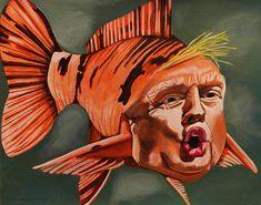Fish Face Anti-Trump Original Painting 14x11 inches Small Artwork President Donald Trump GOP Resist Democrat Political Art Funny  Satire