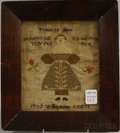 "Small Needlework Sampler, ""Frances Ann Williamson /1703 Age 12,"" probably mid to late 19th century, 7 3/8 x 6 1/4 in.,  Skinner Auctioneers"