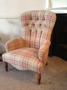 Buttonback Armchair Upholstered In Laura Ashley Keynes Cranberry Fabric New | eBay
