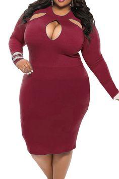 69802fdea0dc Sundray Women Sexy Hollow Out Long Sleeve Bodycon Plus Size Party Evening  Dress at Amazon Women's