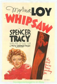 WHIPSAW MOVIE POSTER Original 27x41 Linenbacked 1935 MYRNA LOY SPENCER TRACY