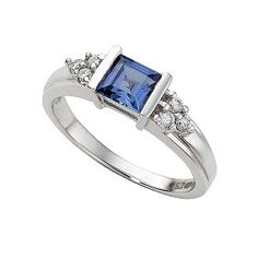 9ct white gold created sapphire and diamond ring - Product number 3537358