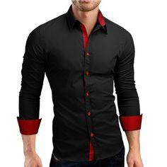 51a9a8d2d42 Casual Highlight Slim Fit Dress Shirt Men Casual