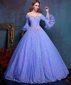 dresses formal gowns on sale at reasonable prices, buy flower embroidery beading light purple lace ball gown medieval dress princess Renaissance Gown queen Victoria/Belle from mobile site on Aliexpress Now! Lace Ball Gowns, Ball Dresses, Evening Dresses, Prom Dresses, Wedding Dresses, Renaissance Gown, Medieval Dress, Elegant Dresses, Pretty Dresses